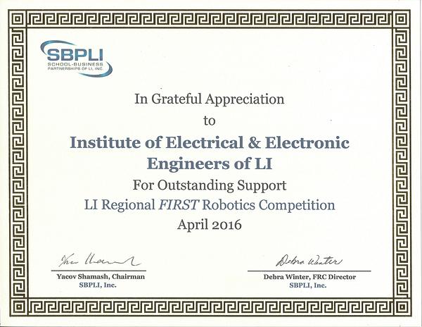 First Robotics Sponsorship